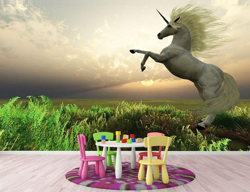 The fabled Unicorn Stag Wall Mural Wallpaper - Canvas Art Rocks - 1