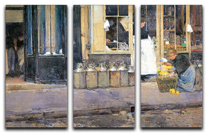 The flower girls and the milk vendor by Hassam 3 Split Panel Canvas Print - Canvas Art Rocks - 1