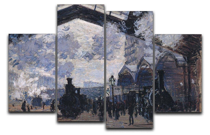 The gare St Lazare 2 by Monet 4 Split Panel Canvas