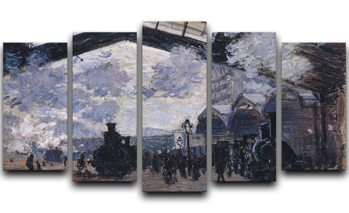The gare St Lazare 2 by Monet 5 Split Panel Canvas