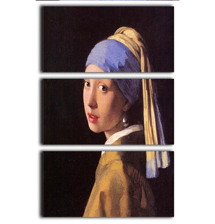 The girl with the pearl earring by Vermeer 3 Split Panel Canvas Print
