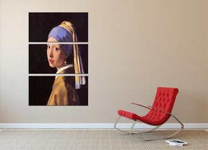 The girl with the pearl earring by Vermeer 3 Split Panel Canvas Print - Canvas Art Rocks - 2