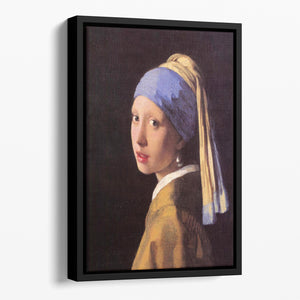 The girl with the pearl earring by Vermeer Floating Framed Canvas