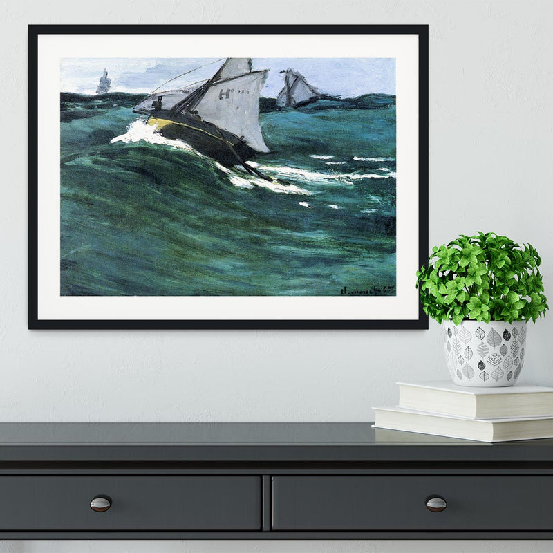 The green wave by Monet Framed Print - Canvas Art Rocks - 1
