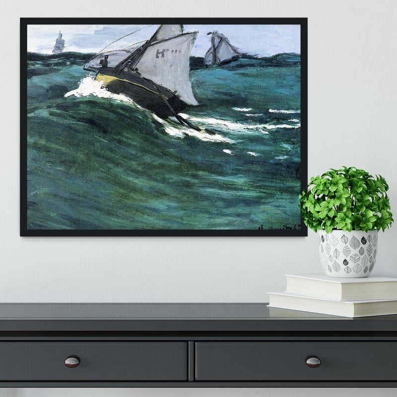 The green wave by Monet Framed Print - Canvas Art Rocks - 2