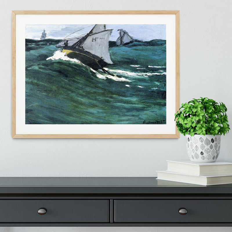 The green wave by Monet Framed Print - Canvas Art Rocks - 3