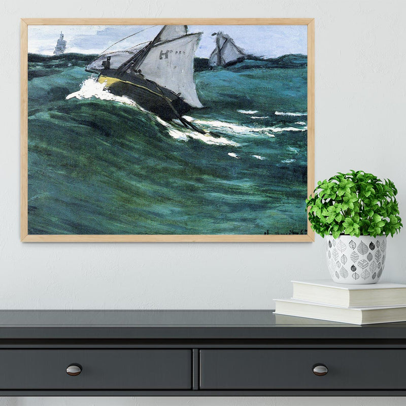 The green wave by Monet Framed Print - Canvas Art Rocks - 4