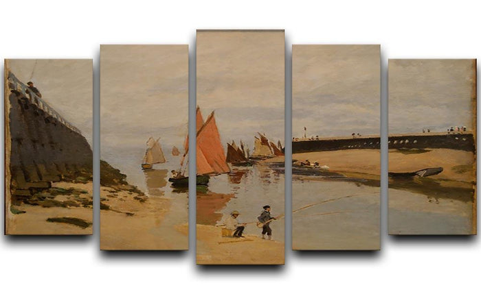 The harbor at Trouville by Monet 5 Split Panel Canvas