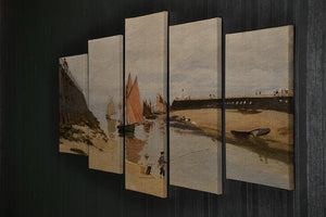 The harbor at Trouville by Monet 5 Split Panel Canvas - Canvas Art Rocks - 2