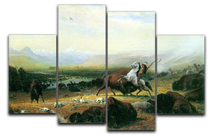 The last Buffalo by Bierstadt 4 Split Panel Canvas - Canvas Art Rocks - 1