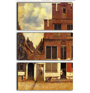 The little street by Vermeer 3 Split Panel Canvas Print - Canvas Art Rocks - 1