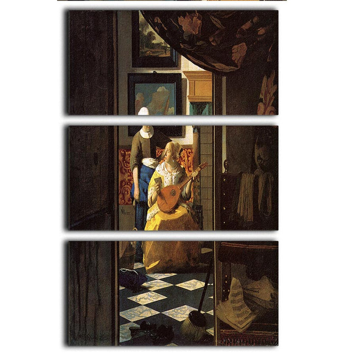 The love letter by Vermeer 3 Split Panel Canvas Print