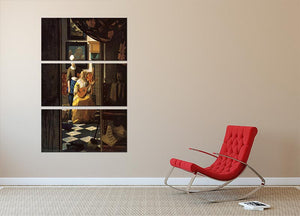 The love letter by Vermeer 3 Split Panel Canvas Print - Canvas Art Rocks - 2