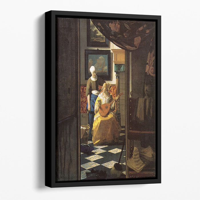 The love letter by Vermeer Floating Framed Canvas