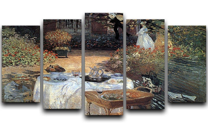 The lunch 2 by Monet 5 Split Panel Canvas