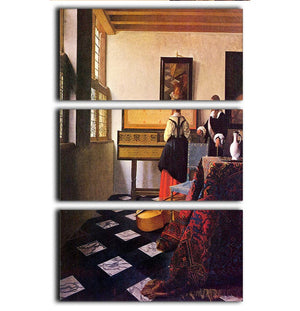 The music lesson by Vermeer 3 Split Panel Canvas Print - Canvas Art Rocks - 1