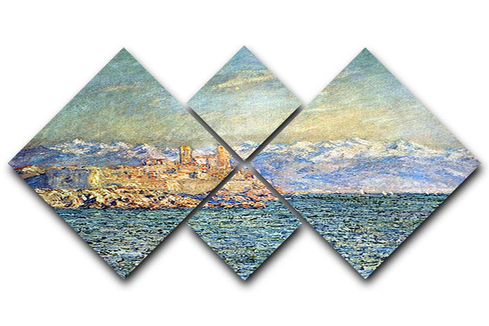 The old Fort in Antibes by Monet 4 Square Multi Panel Canvas