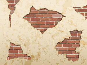 The old shabby concrete and brick cracks Wall Mural Wallpaper - Canvas Art Rocks - 1