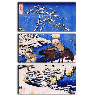 The poet Teba on a horse by Hokusai 3 Split Panel Canvas Print - Canvas Art Rocks - 1