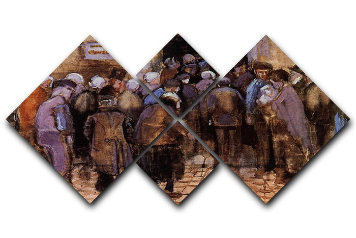 The poor and money by Van Gogh 4 Square Multi Panel Canvas
