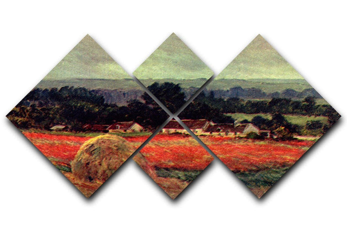 The poppy Blumenfeld The barn by Monet 4 Square Multi Panel Canvas