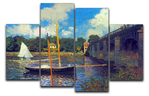 The road bridge Argenteuil by Monet 4 Split Panel Canvas  - Canvas Art Rocks - 1