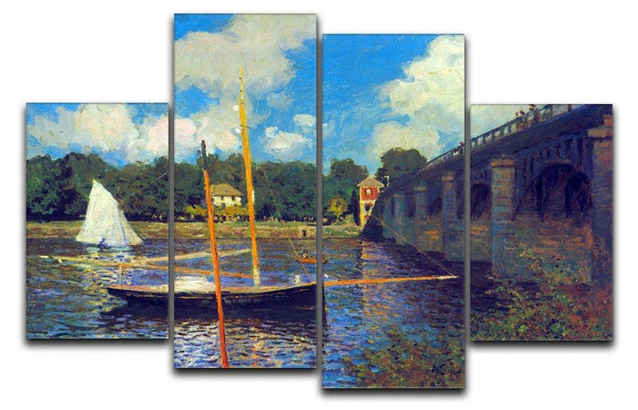 The road bridge Argenteuil by Monet 4 Split Panel Canvas