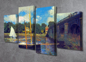 The road bridge Argenteuil by Monet 4 Split Panel Canvas - Canvas Art Rocks - 2
