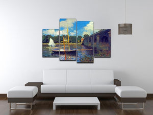 The road bridge Argenteuil by Monet 4 Split Panel Canvas - Canvas Art Rocks - 3