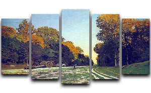 The road from Chailly to Fontainebleau by Monet 5 Split Panel Canvas  - Canvas Art Rocks - 1