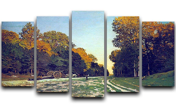 The road from Chailly to Fontainebleau by Monet 5 Split Panel Canvas