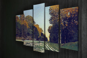 The road from Chailly to Fontainebleau by Monet 5 Split Panel Canvas - Canvas Art Rocks - 2