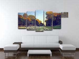 The road from Chailly to Fontainebleau by Monet 5 Split Panel Canvas - Canvas Art Rocks - 3