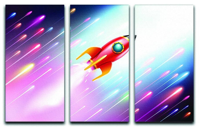The rocket ship flying in the space 3 Split Panel Canvas Print