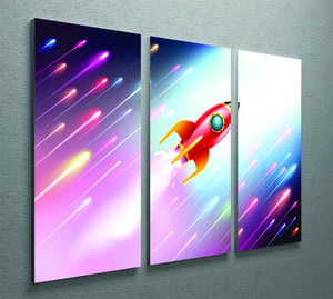 The rocket ship flying in the space 3 Split Panel Canvas Print - Canvas Art Rocks - 2