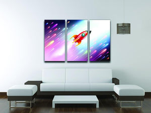 The rocket ship flying in the space 3 Split Panel Canvas Print - Canvas Art Rocks - 3