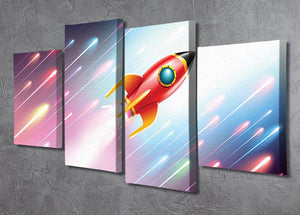 The rocket ship flying in the space 4 Split Panel Canvas - Canvas Art Rocks - 2