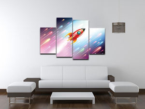 The rocket ship flying in the space 4 Split Panel Canvas - Canvas Art Rocks - 3