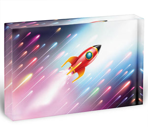 The rocket ship flying in the space Acrylic Block - Canvas Art Rocks - 1