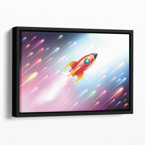The rocket ship flying in the space Floating Framed Canvas