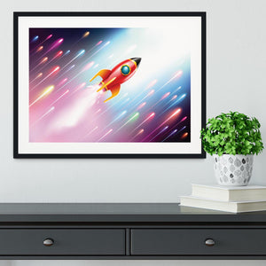 The rocket ship flying in the space Framed Print - Canvas Art Rocks - 1