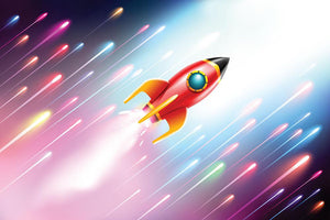 The rocket ship flying in the space Wall Mural Wallpaper - Canvas Art Rocks - 1