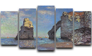 The rocky cliffs of etretat by Monet 5 Split Panel Canvas  - Canvas Art Rocks - 1