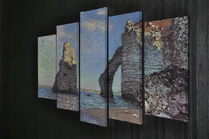 The rocky cliffs of etretat by Monet 5 Split Panel Canvas - Canvas Art Rocks - 2