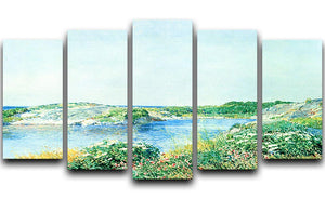 The small pond by Hassam 5 Split Panel Canvas - Canvas Art Rocks - 1
