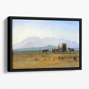 The stagecoach in the Rockies by Bierstadt Floating Framed Canvas - Canvas Art Rocks - 1