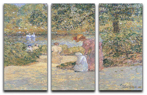 The staircase at Central Park by Hassam 3 Split Panel Canvas Print - Canvas Art Rocks - 1