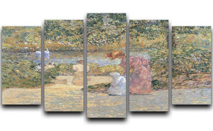 The staircase at Central Park by Hassam 5 Split Panel Canvas - Canvas Art Rocks - 1