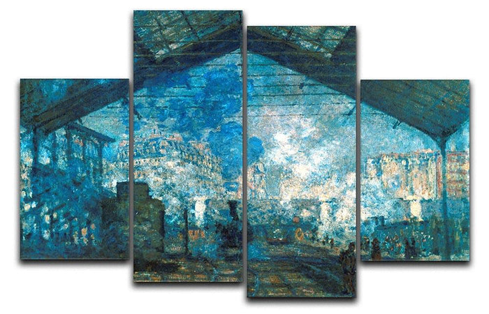 The station Saint Lazare by Monet 4 Split Panel Canvas