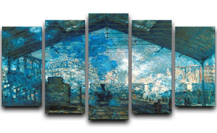 The station Saint Lazare by Monet 5 Split Panel Canvas